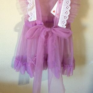 Vintage Accessories - Vintage Lavender Eyelet Lace Apron Valentine's